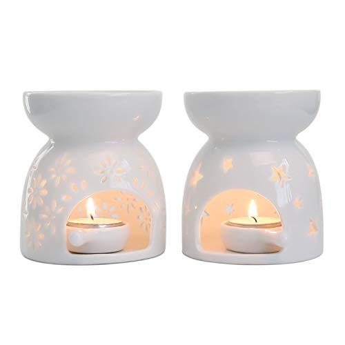 ComSaf Quemador Aceites Esenciales con Cuchara de Velas - Paquete de 2, Quemadores de Aceites Esencial Ceramica Candelabros Decorativos de Velas para Esencias Blanca Yoga SPA Navidad Decoración