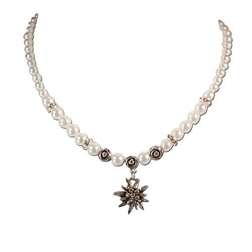 Heimatflüstern Trachtenkette Strass-Edelweiß klein & Perlen - Damen Perlenkette, Dirndlkette fürs Oktoberfest, Trachtenschmuck Kristallstein Edelweiss zur Trachtenbluse und Lederhose (Creme-weiß)