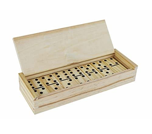 Juegos de dominó de Madera 28 pcs con Caja de Almacenamiento de Madera con Tapa con bisagras, Ideal para Todos los Adultos y niños