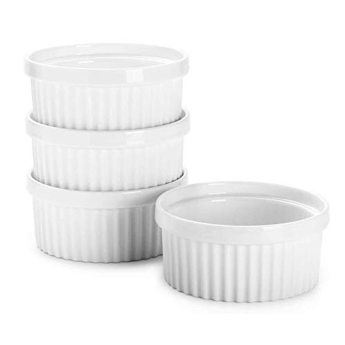 Sweese 503.401 Porcelain Ramekins for Baking - 12 Ounce Souffle Dish - Set of 4, White