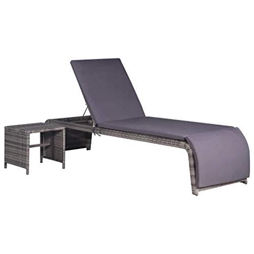 vidaXL Sonnenliege mit Tisch Verstellbarer Rückenlehne Gartenliege Liegestuhl Relaxliege Rattanliege Liege Gartenmöbel Rattanmöbel Poly Rattan Grau