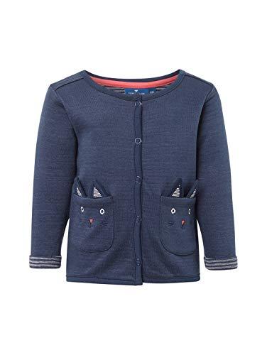 TOM TAILOR Kids Baby-Mädchen Sweatjacket solid Sweatjacke, Blau (Black Iris|Blue 3800), (Herstellergröße: 80)
