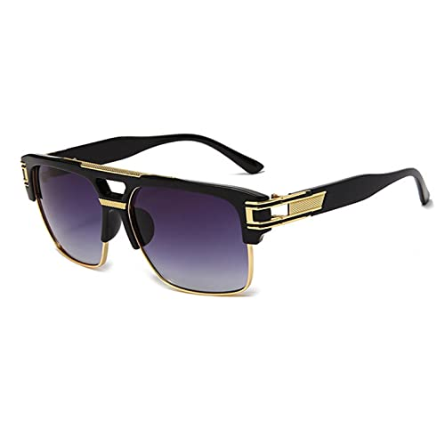 XMYNB Gafas de Sol Gafas De Sol De Gran Tamaño Hombres Moda Gafas De Sol para Las Mujeres Vintage Square Conjuntamente Sombras Reflejadas-Black Gray