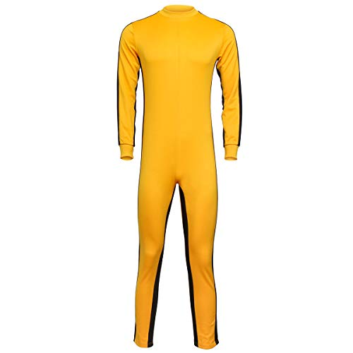 COSFLY Men's Martial Arts Costume Chinese Kungfu Jumpsuit Halloween Party (Medium) Yellow