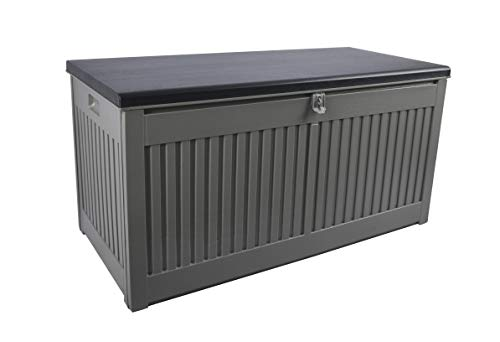 Gardtech Storage Box / Cushion Box in Grey/Black with 270 Litres Capacity Robust Washable and Easy to Assemble Storage Box for Outdoor Patio Furniture Cushions up to 250 kg (2 People)