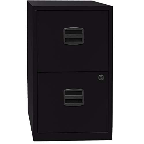 Bisley Home Hängeregistraturschrank - mit 2 Hängeregistratur-Schüben - schwarz - HxBxT: 672 x 413 x 400 mm - Büroschrank, Standcontainer, Unterstellschrank, Aktenschrank