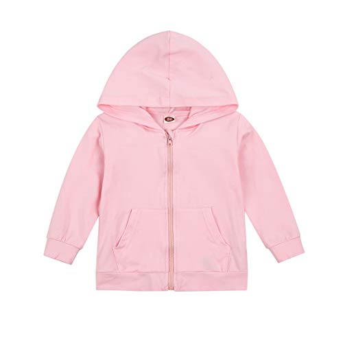 Kid Boy Girl Cotton Hoodie Toddler Casual Solid Zip Hooded Sweatshirt Tops Zipper Jacket Baby Fall Outfits (A # Pink, 5-6T)