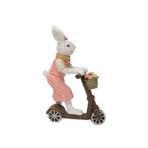 Decoración para el hogar de Pascua Adornos de resina Ventana Shooting Props Scooter Decoración de conejo - Conejos de montar