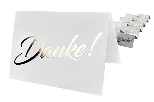 codiarts. 10 Dankeskarten + 10 Umschläge weiß, Danke als goldene glänzende Heißprägung, Danke sagen, Hochzeit, Geburt, Firmung, Geburtstag, Jubiläum (Karte A6 zum aufklappen)