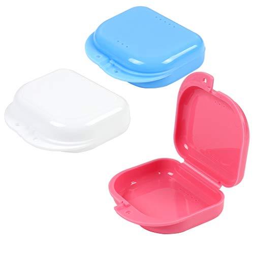 Caja de retenedor, Caja de almacenamiento de dentadura, Estuche protector oral con agujero de aire (3 piezas), Seco & Respirable, Fácil a llevar.