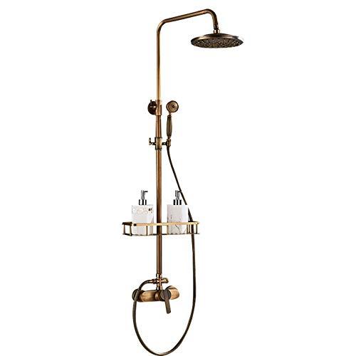 Sistema de ducha antiguo de latón con ducha de mano y ducha de lluvia, juego completo, altura regulable, incluye estante