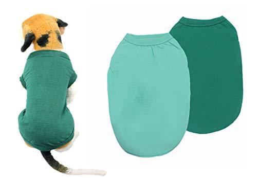 YAODHAOD Vestiti per Cani in Cotone T-Shirt per Cani in Tinta Unita Vestiti, Camicie in Cotone morbide e Traspiranti (L, Verde Scuro + Azzurro)