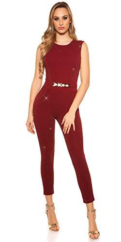 Koucla Damen Overall Jumpsuit Playsuit mit Schnalle (Bordeaux (Glitzer), L)