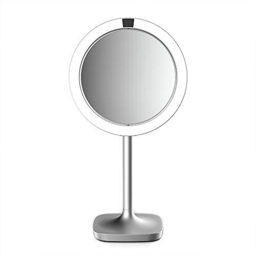 HoMedics drehbarer Kosmetikspiegel mit Annäherungssensor, vergrößernder LED-Spiegel, stabiler Stand, helle Beleuchtung, verzerrungsfreier Spiegel, 7-fache Vergrößerung, kabellos und wiederaufladbar