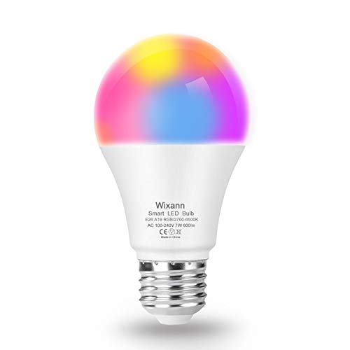 WIXANN Smart WiFi Bulb, RGBCW Wi-Fi LED Bulb A19[7W 600LM] Dimmable Multicolored Lights, No Hub Required, Compatible with Alexa and Google Home, 60W Equivalent (1 Pack)