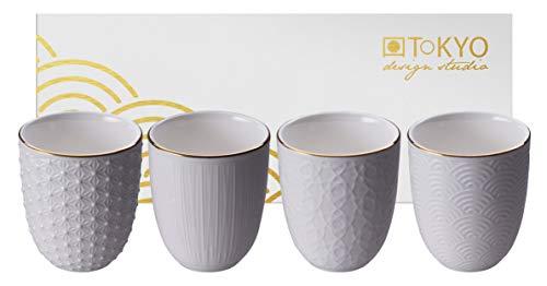 TOKYO design studio Nippon White 4-er Tassen-Set weiß, mit Gold-Rand, ohne Henkel (Becher), Ø 7 cm, 7 cm hoch, 160 ml, asiatisches Porzellan, Japanisches Design, inkl. Geschenk-Verpackung