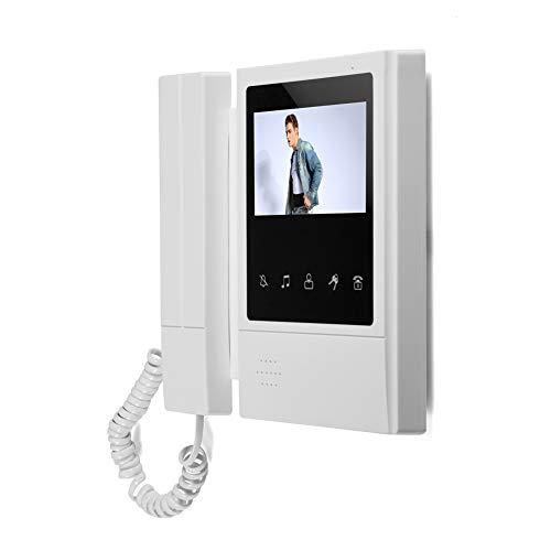 Videoportero LCD de 4.3', monitor de cámara de visión nocturna con timbre de intercomunicador gran angular de 180 ° con sistema de audio bidireccional para el hogar con cubierta para la lluvia(EU)