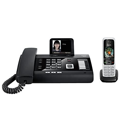 Gigaset DL500A & C430HX -Schnurgeb&enes DECT Handy mit zusätzlichem Mobilteil - Kombi-Set - perfekt für's Homeoffice - Farbdisplay - großes Adressbuch - Freisprechfunktion, schwarz/schwarz-silber