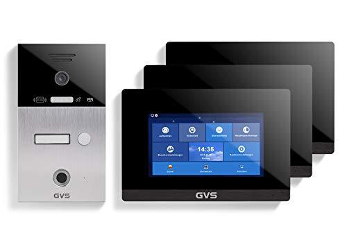 GVS AVS5086A - Videoportero de 4 cables/IP, IP65, RFID, Fingerprint, monitor de 3 x 7 pulgadas, aplicación, cámara HD 120°, apertura de puerta, 32 GB de memoria, conmutador PoE, 1 juego familiar