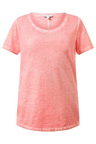 GINA LAURA Damen Shirt, T-Shirt in Used-Look, Rundhals, lockere Passform, Reine Baumwolle hellkoralle M 710948 66-M