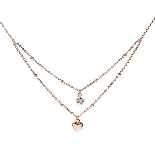 WQZYY&ASDCD Collar De Mujer Collar De Doble Capa De Plata De Ley 925 para Damas Circón Estrella De Cinco Puntas Colgante Estrella En Forma De Corazón Elegante Encanto Joyería-Rose_Gold_