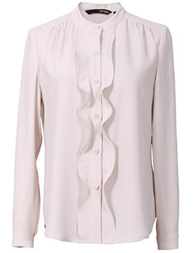 Roey s house Women's Long Sleeve Front Ruffle Chiffon Button Down Shirt Ivory
