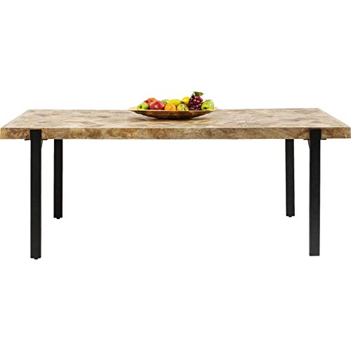 Kare Design Tisch Tortuga, 180x90cm, Esstisch aus Mango Massivholz, robuster Tisch mit Tischbeinen aus Stahl