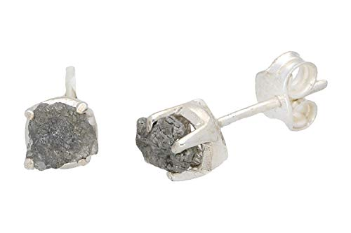 Ohrstecker 6-7mm in Silber 925, Diamant roh