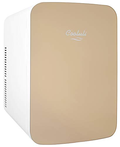 Cooluli Infinity Gold 15 Liter Compact Portable Cooler Warmer Mini Fridge for Bedroom, Office, Dorm, Car - Great for Skincare & Cosmetics (110-240V/12V)