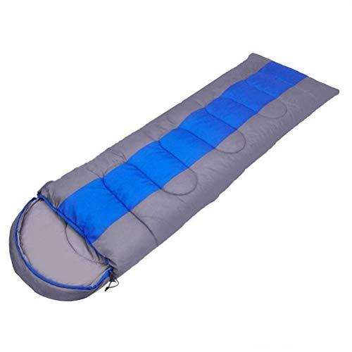 yunyu Camping Schlafsack, Leichter 4-Jahreszeiten-Schlafsack mit warmem und kaltem Umschlag und Rucksack für Wanderungen im Freien (Farbe: Blau, Größe: 1 kg)