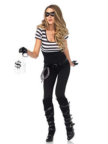LEG AVENUE 85530 - Kostüm Set Bankräuber, Damen Fasching, Größe S, Schwarz/weiß