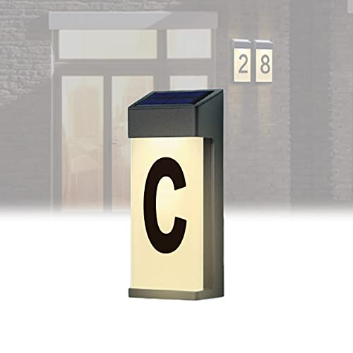YCRD Lluminación Exterior con Número de Casa, Lámparas Solares LED Placas Dirección Número, Luces Led Solares a Prueba Agua, Adecuadas para Luces Placa, Vallas, Patios, Calles, Parques,C