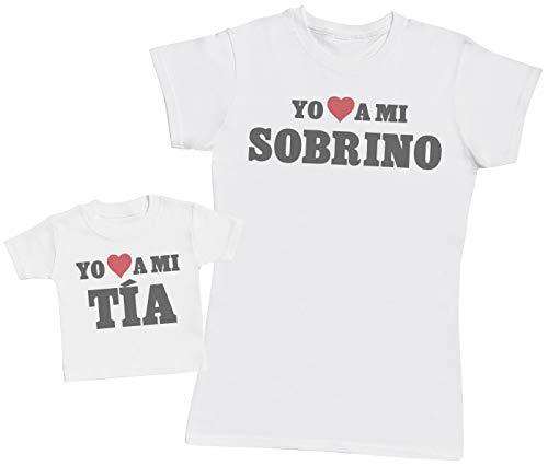 Zarlivia Clothing Yo a mi Tía & Yo a mi Sobrino - Regalo para Madres y bebés en un Camiseta para bebés y una Camiseta de Mujer a Juego
