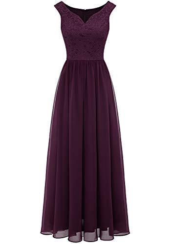 Aupuls 0070 Elegant Abendkleid Spitzen Maxi Chiffonkleid V-Ausschnitt Bodenlang Kleid Grape L