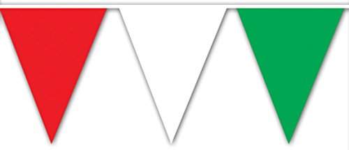 Beistle Outdoor Pennant Banner, 17 by 30-Feet, Red White Green