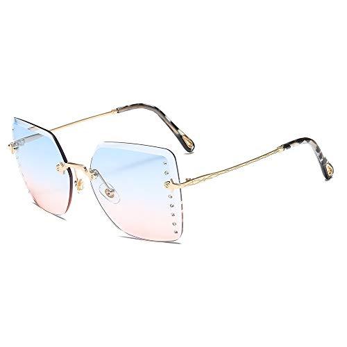 Occhiali da sole Fashion Occhiali da sole senza montatura sagomati Occhiali da sole quadrati con borchie in metallo con borchie per le donne, montatura dorata su blu sotto la cipria