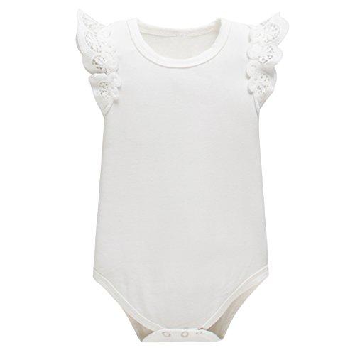 Yatong Baby Girls Bodysuit Onesies Baby Romper(0-6 Months, White)
