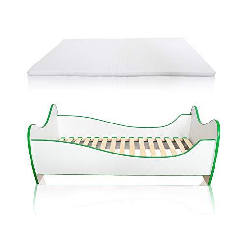 Alcube Kinderbett Swinging Green Edge 140 x 70 cm mit Rausfallschutz, Lattenrost und Matratze MDF beschichtet