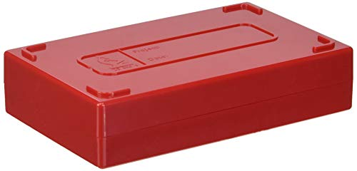 VWR 82003-422 Microscope Slide Boxes, 25-Place, 14 cm Length, 8.9 cm Width, 3.2 cm Height, Red (Pack of 1)