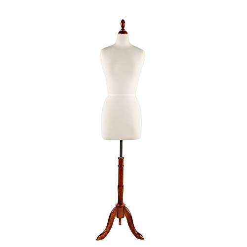 PDM WORLDWIDE Female Mannequin Torso Body Dress Form Pinnable with Adjustable Wooden Tripod Stand Base Height 61