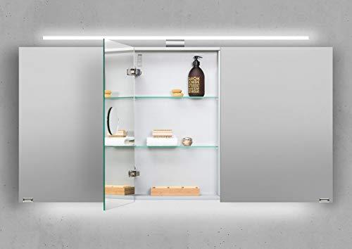 Intarbad ~ Spiegelschrank 150 cm LED Beleuchtung doppelseitig verspiegelt Beton Anthrazit IB5407