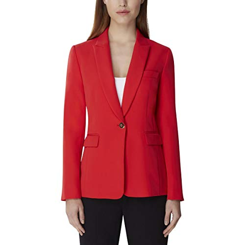 Tahari ASL Women's ONE Button Peak Lapel Jacket, Scarlet Red 6