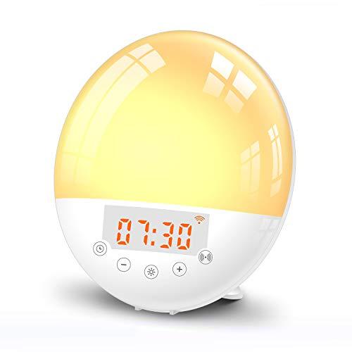 KKmoon Despertador Luz digital Wake Up Light multifuncional Lámpara de mesa Luz de despertador Lámpara de cabecera FM Reloj Control de voz y aplicaciones Wi-Fi Compatible con Amazon Alexa Google Home