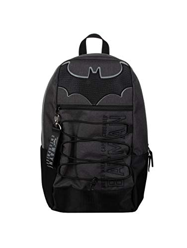 Bioworld Unisex's Batman Bruce Wayne Enterprises Bungee Backpack, Black and Grey, L