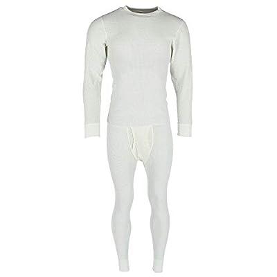 Hanes Men's Thermal Waffle Knit Long Sleeve Shirt and Pants, Large, Natural