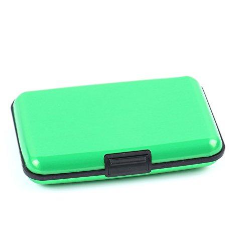 2-TECH Deluxe Kreditkarten Etui Alu Case Wallet Grün Metallic