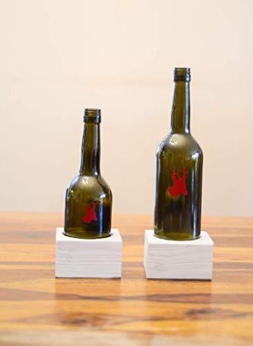 Set Windlicht aus alter Weinflasche mit einem Reh gift for him Kerze Teelichthalter Laterne Weinlicht Upcycling handmade