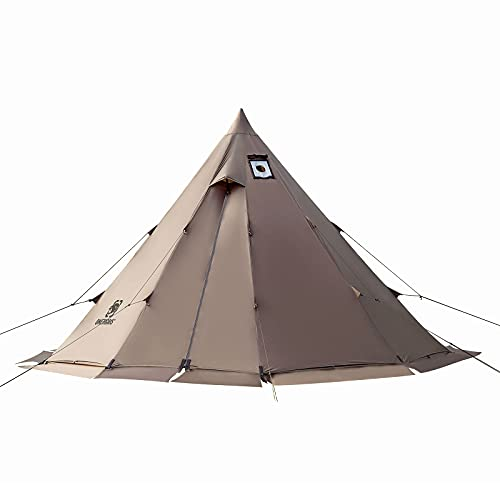 OneTigris Rock Fortressホットテント 2-6人用ワンポールテント 1本ポール付き ベンチレーション機能 耐水圧3000mm 大型サイズテント ティピーテント ツーリング アウトドア キャンプ コンパクト 撥水 通気 キャンプ用 (ブラウン)