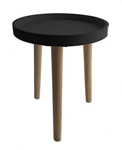 Deko Holz Tisch 36x30 cm - schwarz - Kleiner Beistelltisch Couchtisch Sofatisch