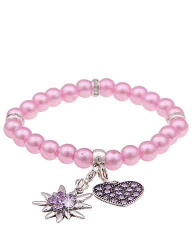 Leslii Damen-Armband Herz-Anhänger Edelweiß Oktoberfest Wiesn Dirndl rosa Perlen-Armband Modeschmuck-Armband Pastel Rosa
